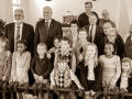 Children and church council with Bishop Bickerton