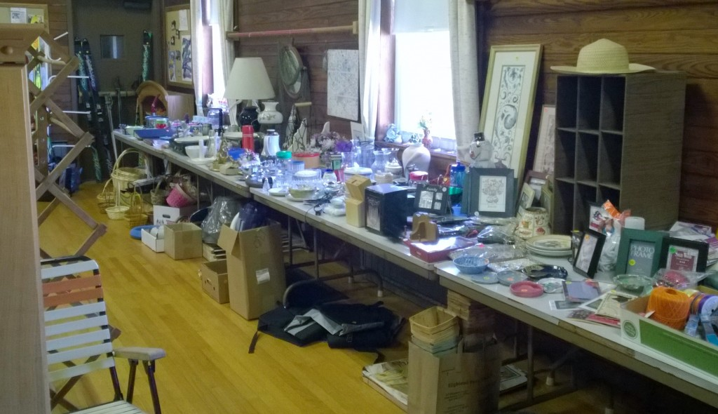 Loaded tables for the tag sale
