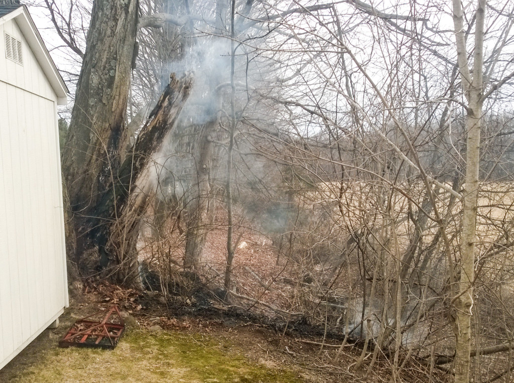 Brush fire behind our church today