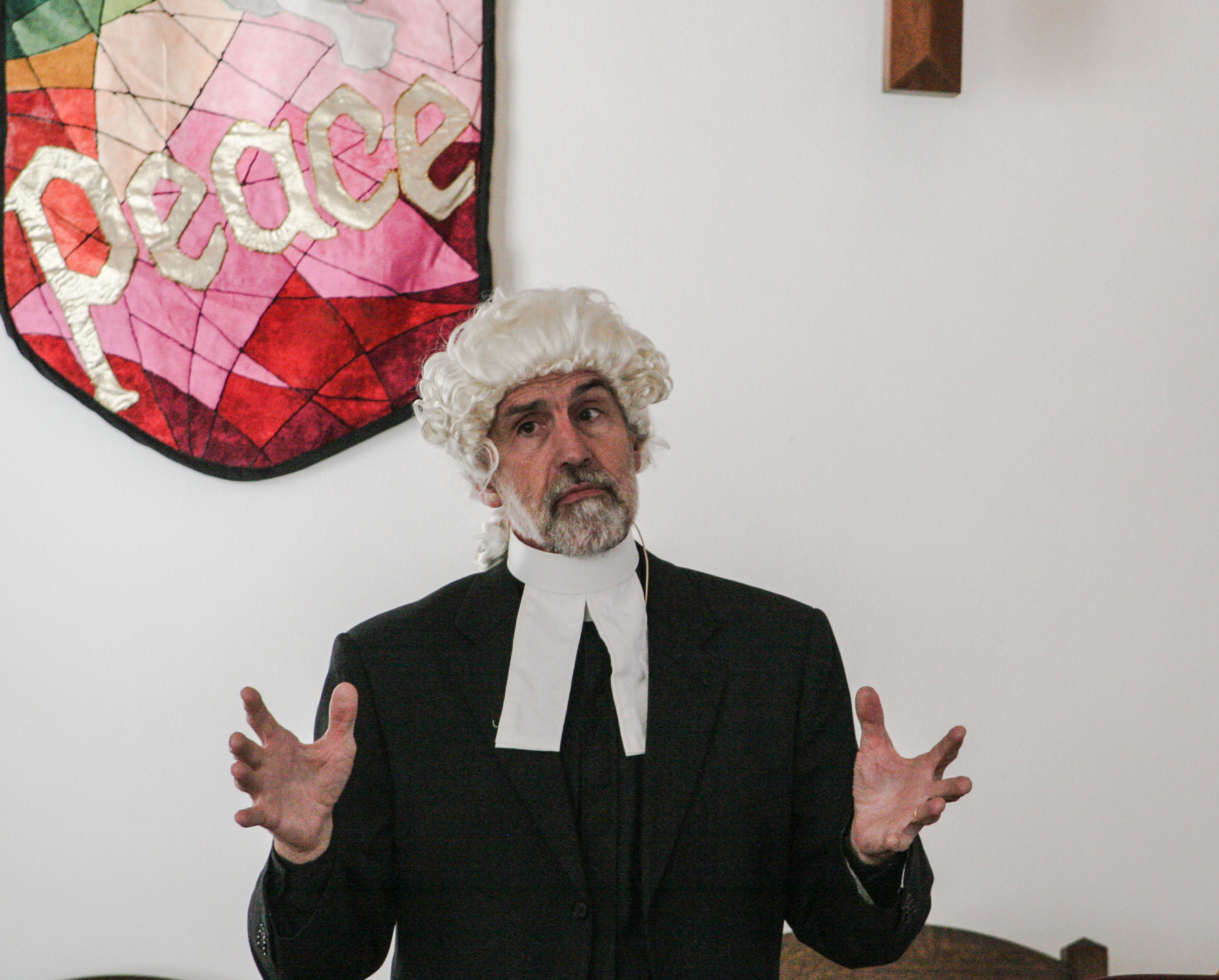 Rev. James Moore dramatically presents as John Wesley at Copper Hill Church