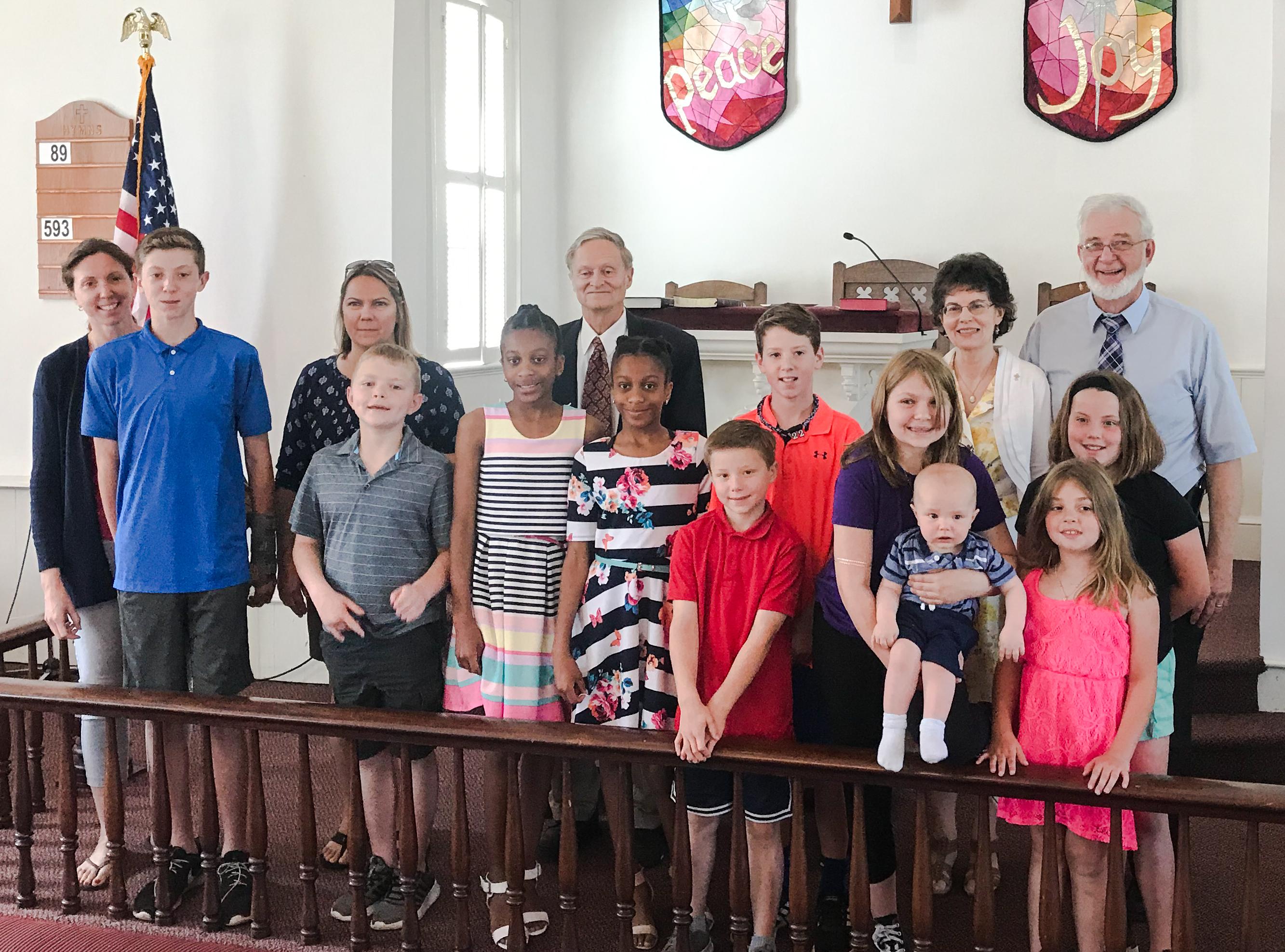Children and teachers on Children's Sunday